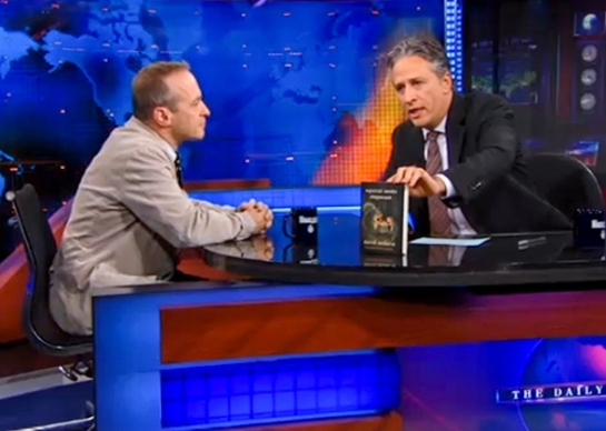 David Sedaris appears on The Daily Show with Jon Stewart on Nov. 4, 2010. Screenshot via Comedy Central
