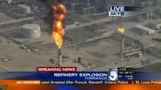 A large flareoff at the ExxonMobil refinery in Torrence, California after an explosion on Wednesday. CREDIT: KTLV/SCREENSHOT