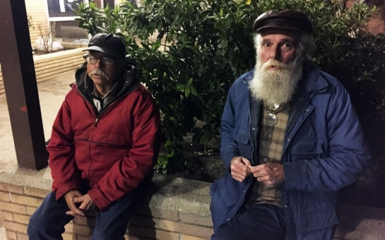 Clyde Heimer (left) and his friend Bill (who did not give his last name), volunteered in the Los Angeles homeless count Wednesday night. They themselves are homeless and said the tally underestimates the number of people living on the streets.Haya El Nasser / Al Jazeera America