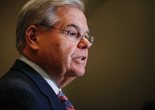 Sen. Bob Menendez speaks at a press conference on March 6, 2015, in Newark, New Jersey. Photo by Kena Betancur/Getty Images