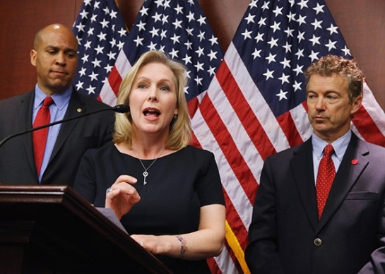Sen. Kirsten Gillibrand speaks about medical marijuana during a news conference with Sens. Cory Booker (left) and Rand Paul on Capitol Hill on March 10, 2015, in Washington. Photo by Mark Wilson/Getty Images