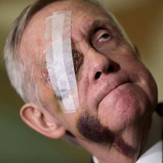 Senate Minority Leader Harry Reid, who is clearly hiding something. Photo: Win McNamee/Getty Images