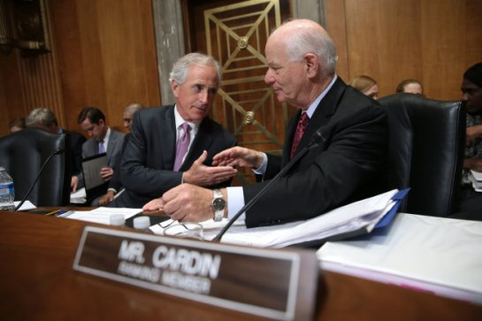 This loving moment between Sens. Bob Corker, R-Tenn., and Ben Cardin, D-Md. was brought to you by bipartisanship, which has been on a comparative upswing lately on Capitol Hill.