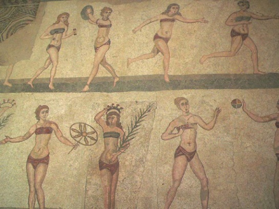 """Image of the """"bikini girls"""" mosaic at the Piazza Armerina in Sicily."""