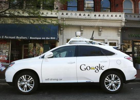Google's self-driving car, parked on Pennsylvania Avenue on April 23, 2014, in Washington. Photo by Mark Wilson/Getty Images