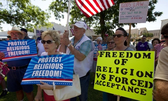 Opponents of same-sex marriage in Granbury, Texas, demonstrate their support for a local clerk who was refusing to issue licences to gay couples earlier this month. Photograph: Joyce Marshall/Zuma Press/Corbis