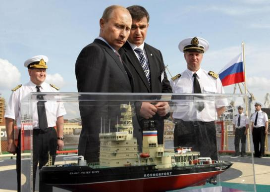 In Putin's Russia, icebreaker breaks YOU. Here, then–Russian Prime Minister, current President Vladimir Putin is seen during his visit to the new icebreaker St. Petersburg on July 12, 2009. --  Photo by Aleksey Nikolskyi/AFP/Getty Images
