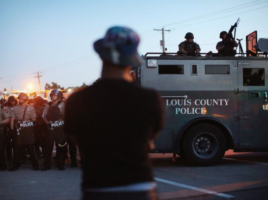 "A new Justice Department report gave a total of 113 lessons learned and a half-dozen themes that ""permeated all aspects of the police response"" during the height of the demonstrations in Ferguson, Mo., last year. Scott Olson/Getty Images"