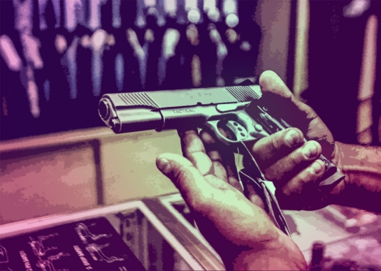 A new report found that gun dealers tend to escape the oversight of law enforcement. Photo illustration by Juliana Jiménez. Photo by Gabriel Bouys/AFP/Getty Images.