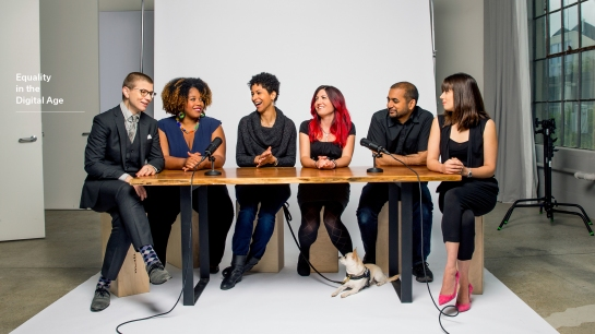 From left, Nadia Kayyali, Chinyere Tutashinda, Adria Richards, moderator Laura Hudson, Anil Dash, and Del Harvey (not pictured, Anita Sarkeesian).  CHRISTIE HEMM KLOK