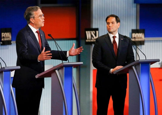 Marco Rubio turns to face opponent Jeb Bush during the Republican primary debate in Milwaukee on Nov. 10, 2015. Photo by Jim Young/Reuters