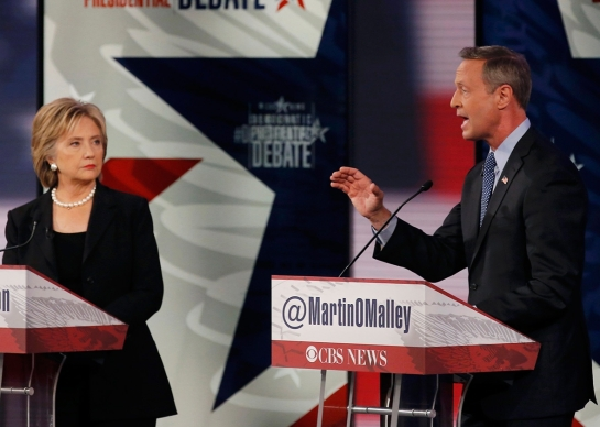 Hillary Clinton and Martin O'Malley during the second official 2016 Democratic presidential candidates debate in Iowa, on Nov. 14, 2015. REUTERS/Jim Young