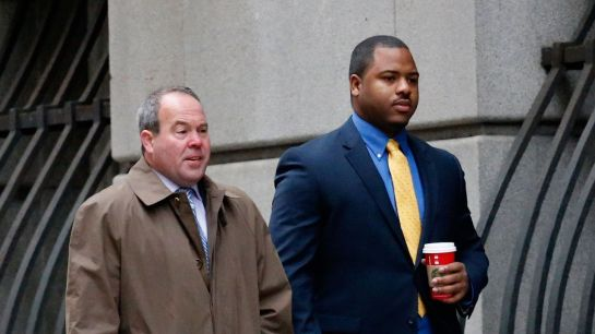 William Porter, right, is the first Baltimore police officer to go to trial over Freddie Gray's death -- Rob Carr/Getty Images