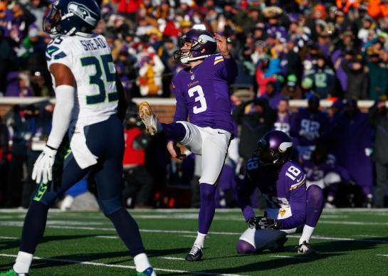 The Vikings' Blair Walsh missed a short field goal, but it wasn't his fault. The laces weren't out! Photo by Jamie Squire/Getty Images