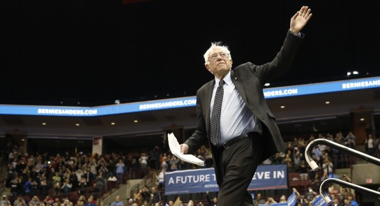 Bernie Sanders waves during a campaign stop on March 13 at Ohio State University in Columbus. | AP