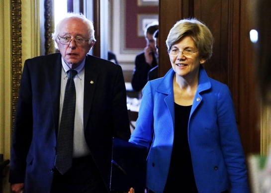 Sen. Bernie Sanders and Sen. Elizabeth Warren at the U.S. Capitol in May 2015. Jonathan Ernst/Reuters