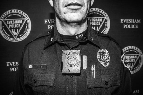 12/3/2014 Evesham Township, New Jersey Evesham Township Police Department.  Officer Christopher Chew answering questions about the body camera and how it works.