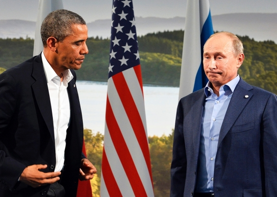 Barack Obama holds a bilateral meeting with Vladimir Putin during the G8 summit at the Lough Erne resort near Enniskillen in Northern Ireland, on June 17, 2013. -- Jewel Samad/Getty Images