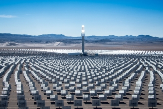 The 110-megawatt Crescent Dunes Solar Energy Facility in Nevada is the first utility-scale concentrating solar plant that can provide electricity whenever it's needed most, even after dark.  --  Credit: SolarReserve