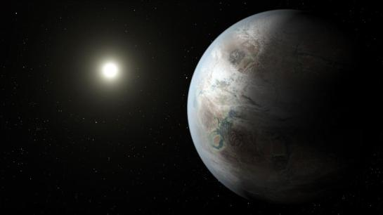 The artist's depiction shows one possible vision of Kepler 452b, the closest thing to an Earth cousin seen by NASA's Kepler telescope. --  ILLUSTRATION BY NASA AMES, JPL/CALTECH, T. PYLE