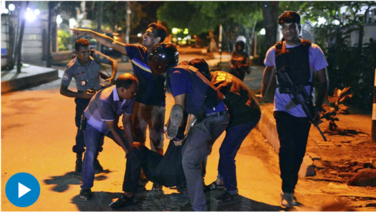 Around 10 Islamic State militants stormed a cafe in Dhaka's diplomatic enclave and held dozens of hostages. Bangladeshi commando forces freed at least 12 hostages Saturday morning. -- Photo: Associated Press