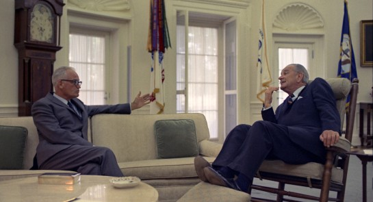 Senator Barry Goldwater and President Lyndon Johnson in the Oval Office, May 21, 1968. | Yoichi Okamoto/LBJ Library Photo Read more: http://www.politico.com/magazine/story/2016/08/goldwater-lbj-racism-campaign-trump-bigotry-214191#ixzz4IhaesH6V  Follow us: @politico on Twitter | Politico on Facebook