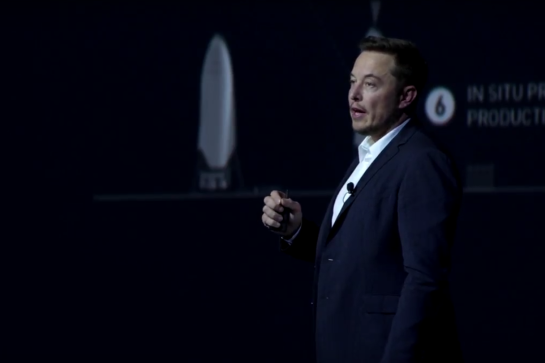 """""""I probably will name the first ship that goes to Mars 'Heart of Gold,'"""" said Musk. (No, really.) (SpaceX)"""