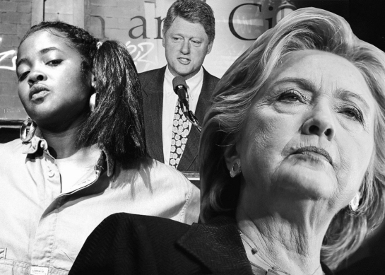 From left, Sister Souljah, Bill Clinton, and Hillary Clinton. Photo illustration by Slate. Photos by Anthony Barboza/Getty Images, Greg Gibson/AP Images, and Justin Sullivan/Getty Images.