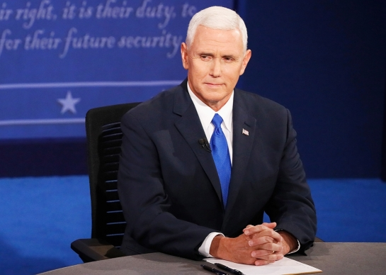 Republican vice presidential nominee Mike Pence during the vice presidential debate at Longwood University on Tuesday in Farmville, Virginia. Andrew Gombert/Pool/Getty Images