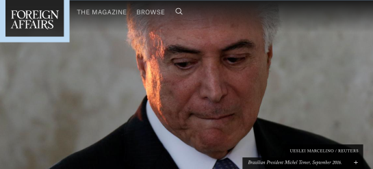 UESLEI MARCELINO / REUTERS  Brazilian President Michel Temer, September 2016.
