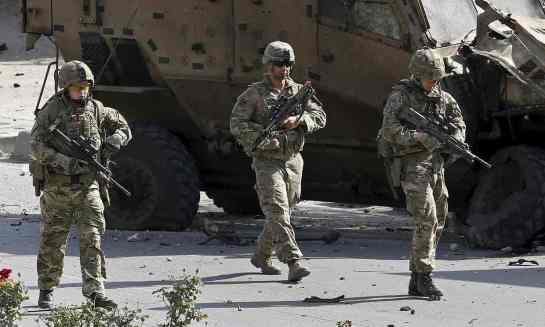 Nato troops on patrol in Kabul last year. Photograph: Ahmad Masood/Reuters