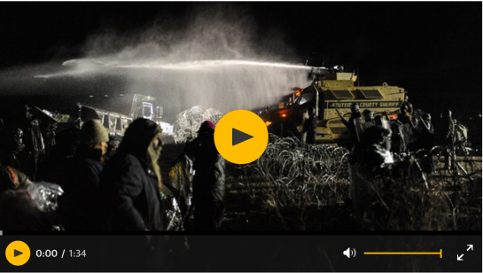 Current Time 0:00 / Duration Time 1:34 Loaded: 0% Progress: 0% Mute Police blast Standing Rock protesters with water cannon and rubber bullets – video
