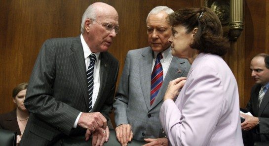 Sens. Orrin Hatch, center, and Dianne Feinstein, right, accompanied by Patrick Leahy, left, have yet to publicly entertain the potential of retirement. | Getty