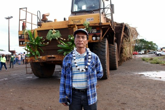 Fermin Domingo, 61, worked at HC&S for 40 years. He drove in the last truck hauler of sugar cane on the plantation's final day. Molly Solomon/Hawaii Public Radio
