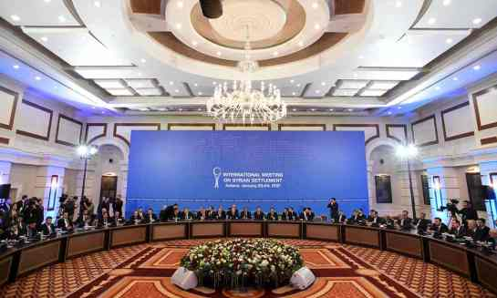 Representatives of the Assad regime and rebel groups assemble for Syria peace talks at Astana's Rixos President hotel on Monday. Photograph: Kirill Kudryavtsev/AFP/Getty Images