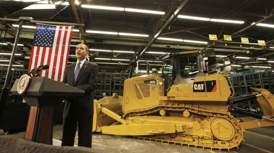 President Obama speaks to Caterpillar employees in East Peoria, Ill., in February 2009 about the then-struggling economy. Charles Dharapak/AP