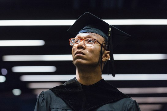 Gabriel Rosa poses for a portrait before his graduation ceremony from P-TECH, a six-year program that confers a high school diploma and associate's degree, June 2015. Andrew White for WIRED