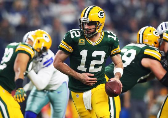 Aaron Rodgers, of the Green Bay Packers, in a game against the Dallas Cowboys last weekend. Photograph by Tom Pennington / Getty