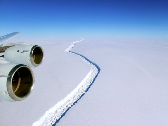 A NASA scientist with project IceBridge took this photo of the crack in November. John Sonntag/NASA