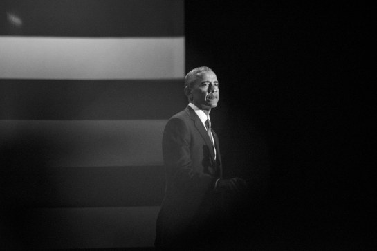 Barack Obama gives his farewell address in Chicago on January 10, 2017. Jon Lowenstein/Redux