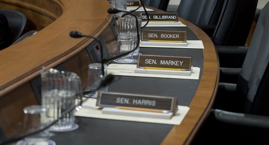 The seats for Democratic senators remain empty as a vote is held for Scott Pruitt's nomination to be administrator of the EPA during a Senate Environment and Public Works Committee hearing Feb. 2. | Getty