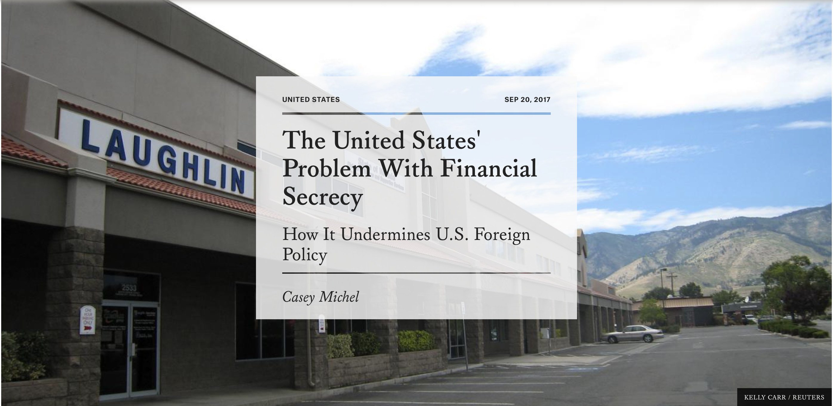The United States\' Problem With Financial Secrecy – By Casey Michel ...